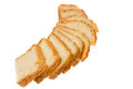 Slices of homemade bread strung on white background Stock Image