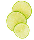Slices of lime fruit vi over white background Stock Photography