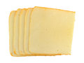Slices of muenster cheese on a white background Royalty Free Stock Photo