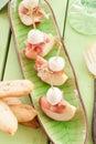 Slices of nectarine with smoked ham Royalty Free Stock Photo