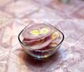 Slices of an onion in glass bowl Royalty Free Stock Photo