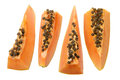 Slices of papaya on white background Royalty Free Stock Photos