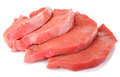Slices of raw beef on white background Royalty Free Stock Photo