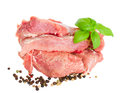 Slices raw meat of pork Royalty Free Stock Images