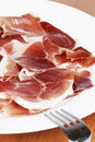 Slices of spanish ham Stock Photography