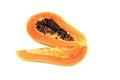 slices of sweet papaya on white background Royalty Free Stock Photo
