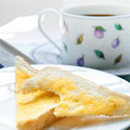 Slices of toast with a cup of coffee Stock Image