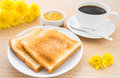 Slices of toasts, jam and coffee cup Royalty Free Stock Photo
