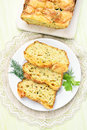 Slices of vegetable moist bread with zucchini cheese eggs carrot top view Stock Images