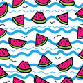 Slices of watermelon on cartoon waves background. Seamless pattern in hand drawn style. Blue, pink, green, black outline