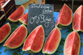Slices of watermelon at a french market Stock Photos