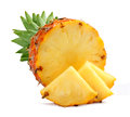 Slices whole pineapple white background Stock Photography