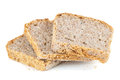 Slices of wholemeal bread isolated on white background with clipping path Royalty Free Stock Images