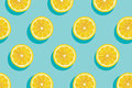 Slices of yellow lemon summer background.
