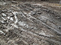 Slick muddy tracks bulldozer on a development site Royalty Free Stock Photography