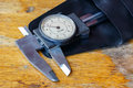 Slide caliper with a round dial in a storage case Royalty Free Stock Photo