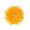 Slide circle cut of ripe fresh Orange fruit isolated on the whit Royalty Free Stock Photo