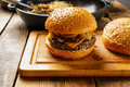 Slider burger on a cutting board Royalty Free Stock Photo
