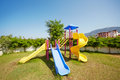 Slides at children playground multicolour Royalty Free Stock Images