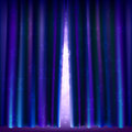 Slightly open curtain with stars and twinkling lights Stock Images