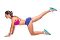 Slim fitness young woman Athlete girl doing plank exercise with legs Royalty Free Stock Photo
