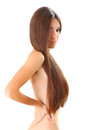 Slim girl beautiful young woman with long hair Royalty Free Stock Image