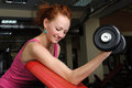 Slim girl doing biceps traning young red haired workout with dumbbell Royalty Free Stock Photos