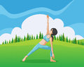 A slim girl doing yoga at the top of the hill illustration Royalty Free Stock Images