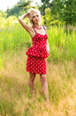 Slim Girl In A Dress On Nature