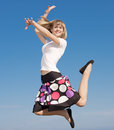 Slim girl jumping Royalty Free Stock Image