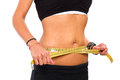 slim girl measuring her waist Royalty Free Stock Photo