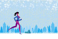 Slim girl running in winter illustration Royalty Free Stock Photography