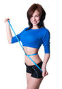 Slim girl sporty young woman model wearing blue top and black shorts measuring her waist with ruler tape happy toothy smiling Royalty Free Stock Images
