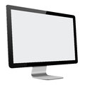 Slim led computer monitor with blank screen on white d illustration of background Stock Photography