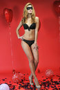 Slim model posing sexy wearing provocative lingerie for valentine s day greeting card photoshoot Royalty Free Stock Photography