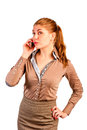 Slim pretty girl in office clothes with a phone Royalty Free Stock Image