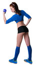 Slim sport girl and fit young sporty pretty woman model wearing blue top black shorts blue football socks and trainers making Stock Photo