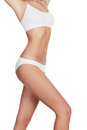Slim woman in white underwear copyspace Stock Photo