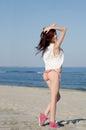Slim young red hair woman wearing bottom bikini and shirt Royalty Free Stock Photo