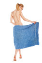 Slim young woman after bath with towel over white Stock Images