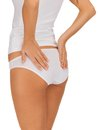 Slimming concept closeup picture of woman in cotton underwear showing Stock Photo