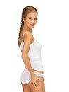 Slimming concept picture of woman in cotton underwear showing Royalty Free Stock Images