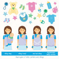 Slings four types of baby carriers and sling ring ergonomic baby carrier mei tai baby carrier aling scarf baby supplies vector Royalty Free Stock Photo