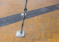Slings lock safty with pole steel on the floor Stock Photo
