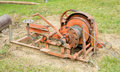 Slings of machine the for industrial at grass field background Royalty Free Stock Images
