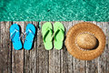 Slippers at jetty and hat by the sea Stock Image