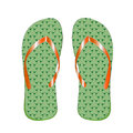 Slippers man& x27;s green color, for a beach, on a white background.