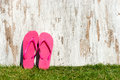 Slippers on the meadow weathered wood a field of grass and a pair of rubber boots Royalty Free Stock Photo