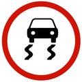 Slippery road sign board Royalty Free Stock Photo