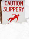 Slippery Snow Warning Royalty Free Stock Photo